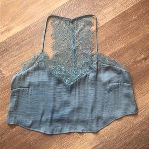 Silky dusty blue cropped tank top